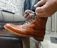 Load image into Gallery viewer, Men's Tan Ankle Wing Tip Brogue Leather Lace Up Boot - leathersguru