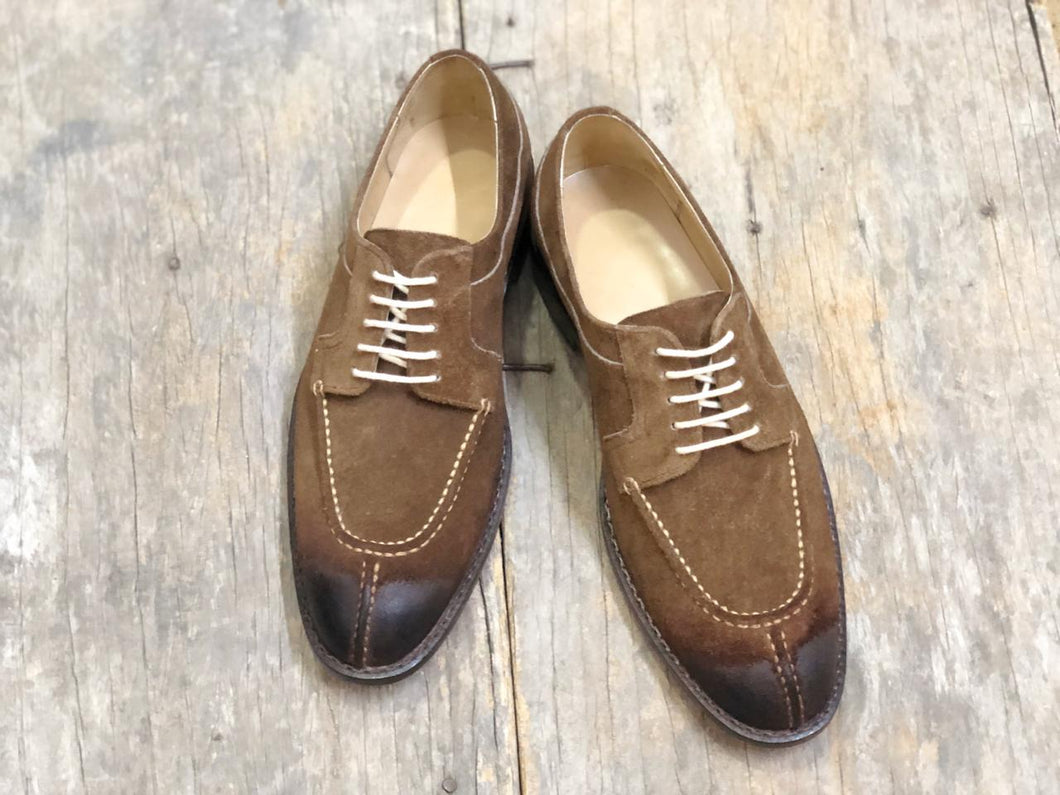 Bespoke Brown Suede Split Toe Lace Up Shoe for Men - leathersguru
