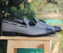 Load image into Gallery viewer, Bespoke Gray Ostrich Leather Tussle Loafer  Shoe for Men - leathersguru
