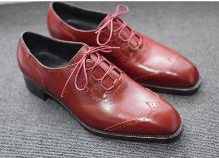Handmade Men's Leather Burgundy Wing Tip Shoes - leathersguru