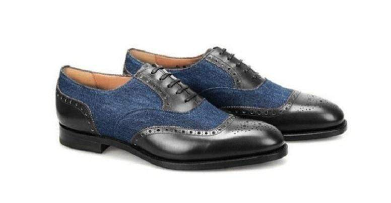 Handmade Men's Navy Blue Black Leather Suede Brogue Shoes - leathersguru
