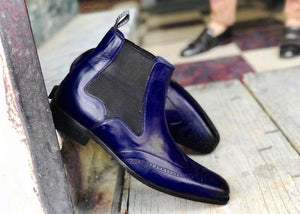 Handmade Men's Ankle High Leather Purple Wing Tip Chelsea Boot - leathersguru