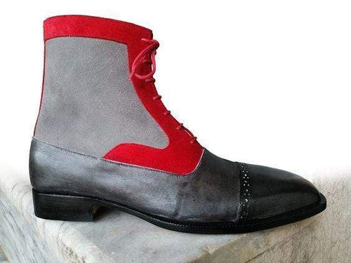 Men's Ankle High Black Red Leather Suede Gray Cap Toe Boot - leathersguru