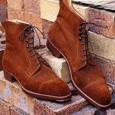 Handmade Brown Suede Cap Toe Lace Up Boot - leathersguru