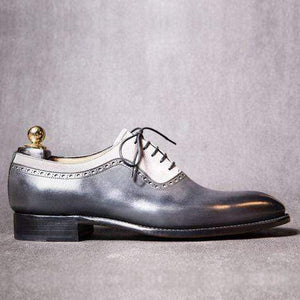 Handmade Men's Leather Suede Gray White Shoes - leathersguru