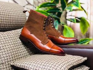 Handmade Brown Leather Suede Cap Toe Lace Up Boot - leathersguru