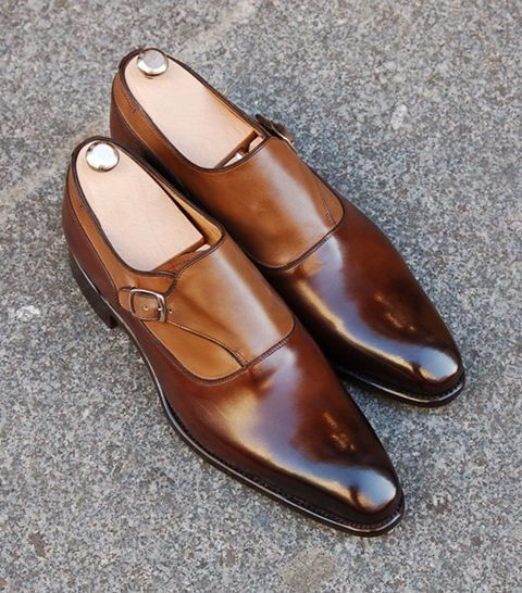 Bespoke Brown Leather Buckle Up Shoe for Men - leathersguru
