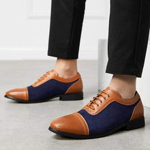 Load image into Gallery viewer, Men's Brown Navy Blue Leather Suede Cap Toe Shoes - leathersguru