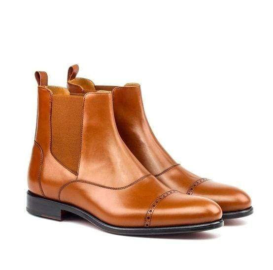Handmade Men's Ankle High Brown Leather Cap Toe Chelsea Boot - leathersguru