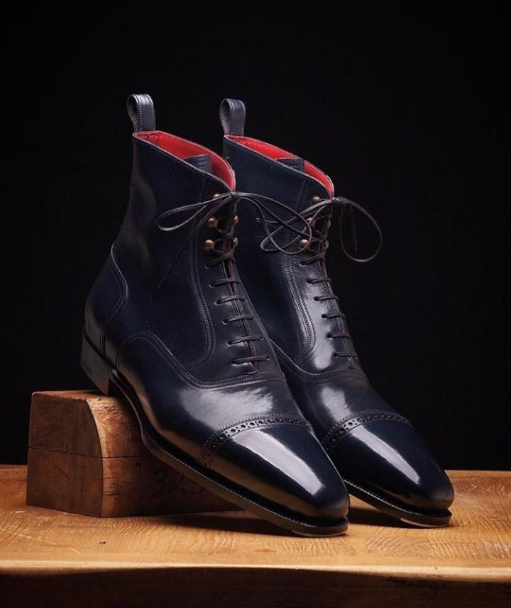 Men's Ankle High Leather Navy Blue Cap Toe Lace Up Boot - leathersguru