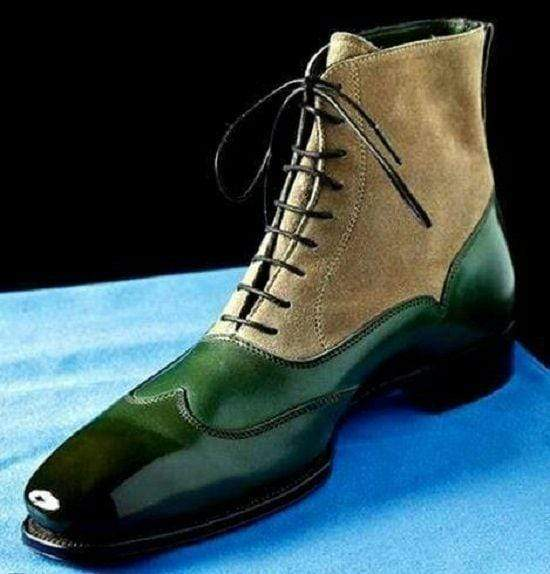 Men's Ankle High Green Beige Leather Suede Wing Tip Boot - leathersguru