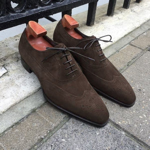 Bespoke Chocolate Brown Suede Wing Tip Lace Up Shoe for Men - leathersguru