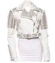 Load image into Gallery viewer, Leather Rider Womens For Mens Silver Tone Studded White Leather Jacket