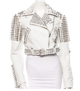 Leather Rider Womens For Mens Silver Tone Studded White Leather Jacket