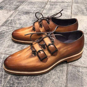 Handmade Men's Leather Cognac Double Monk Shoes - leathersguru