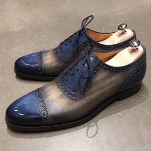 Bespoke Blue & Brown Leather Cap Toe Lace Up Shoe for Men - leathersguru