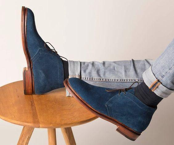 Handmade Men's Ankle High Navy Blue Suede Chukka Boot - leathersguru