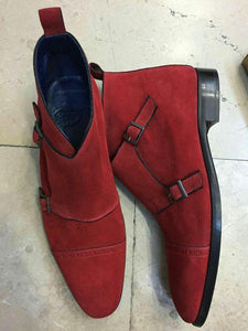 Monk Suede Red Cap Toe Boots - leathersguru