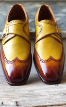 Load image into Gallery viewer, Bespoke Yellow Tan Brown Leather Monk Strap Wing Tip Shoes for Men's - leathersguru