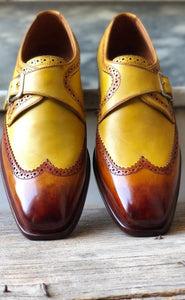 Men's Tan Brown Leather Monk Strap Wing Tip Shoes - leathersguru