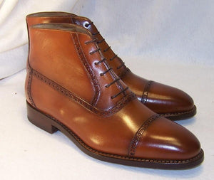 Bespoke Cap Toe Leather Tan Lace Up Boots - leathersguru