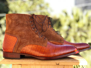 Bespoke Tan Brown Leather Suede Lace Up Boots - leathersguru