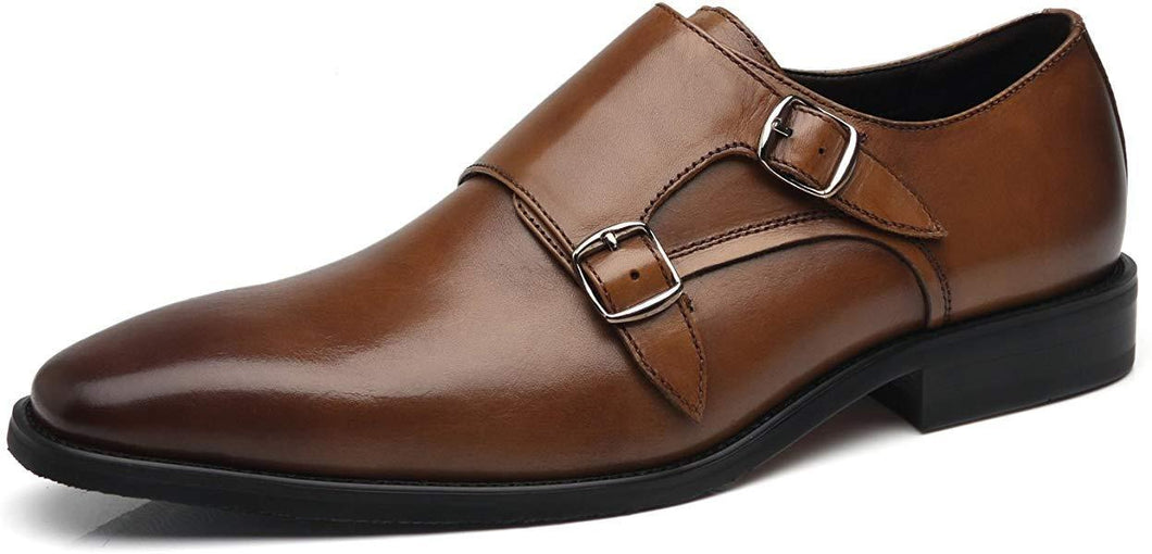 Handmade Brown Double Monk Leather Shoe - leathersguru
