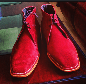 Bespoke Chukka Red Suede Lace Up Boot - leathersguru