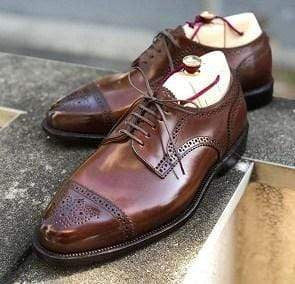 Handmade Men's Leather Brown Cap Toe Brogue Shoes - leathersguru