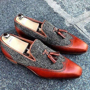 Brown Gray Loafers Leather Tweed Tussles Shoe - leathersguru