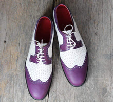Load image into Gallery viewer, Handmade Leather White Purple Wing Tip Shoe - leathersguru