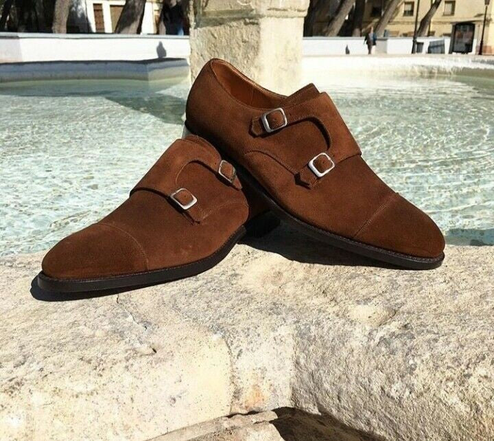 Bespoke Brown Suede Double Monk Strap Shoe for Men - leathersguru