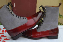Load image into Gallery viewer, Handmade Burgundy Gray Leather Suede Boot - leathersguru