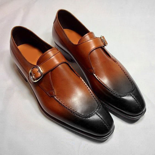 Bespoke Brown & Black Leather Split Toe Monk Strap Shoe for Men - leathersguru