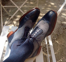Load image into Gallery viewer, Bespoke Black Gray Leather Wing Tip Shoes - leathersguru