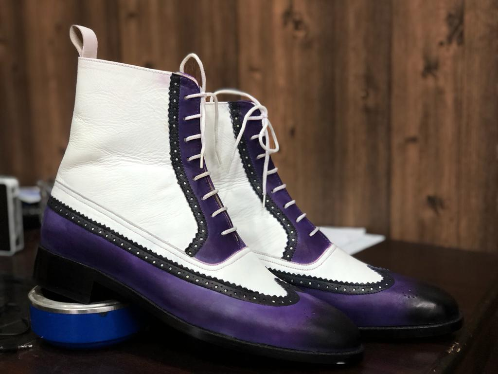 Bespoke White & Purple Leather High Ankle Wing Tip Boot - leathersguru