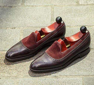 Men's Suede Leather Loafers Shoes, Maroon & Dark Brown Color Slip On Brogue Shoes - leathersguru
