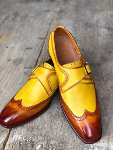 Bespoke Yellow Tan Brown Leather Monk Strap Wing Tip Shoes for Men's - leathersguru