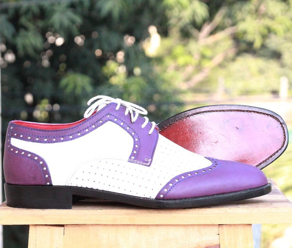 Handmade Leather White Purple Wing Tip Shoe - leathersguru