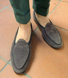 Men's Suede Loafers Gray Slip On Moccasin Shoes - leathersguru
