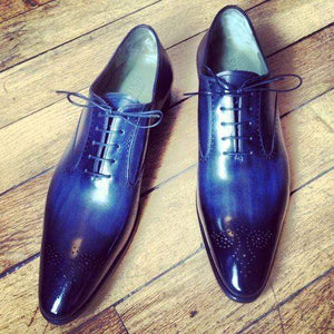 Handmade Men's Leather Blue Brogue Derby Shoes - leathersguru