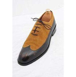 Handmade Tan Black Leather Suede Wing Tip Brogue Shoes - leathersguru