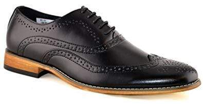 Handmade Black Leather Wing Tip Brogue Shoe - leathersguru