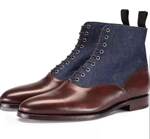 Bespoke Burgundy Navy Blue Ankle Leather Suede Lace Up Boots - leathersguru