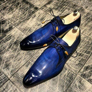 Handmade Men's Leather Blue Derby Shoes - leathersguru