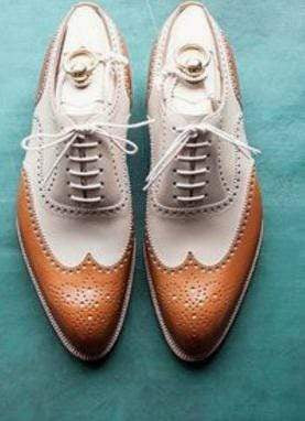 Men's Leather  White Brown Wing Tip Brogue Lace Up Shoes - leathersguru