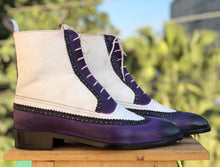 Load image into Gallery viewer, Bespoke White & Purple Leather High Ankle Wing Tip Boot - leathersguru