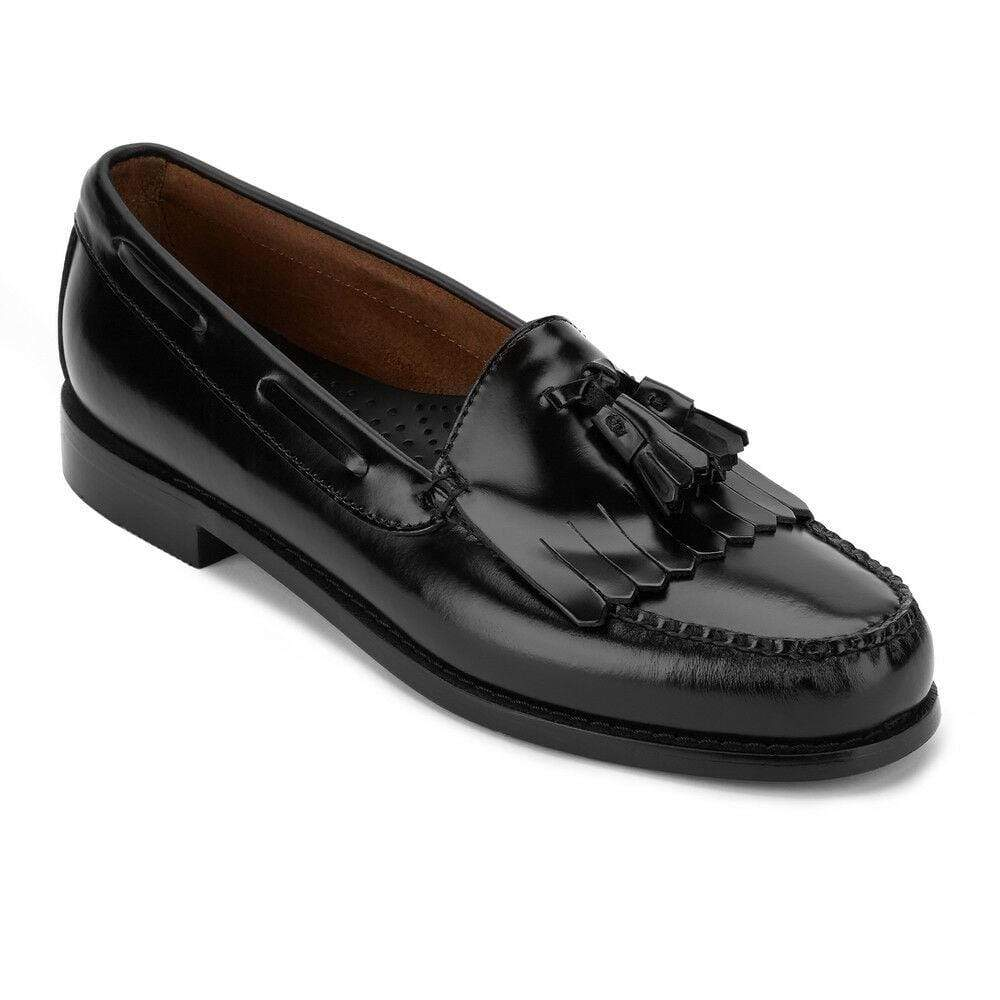 Handmade Black Loafers Leather Fringe Tussles Shoe - leathersguru
