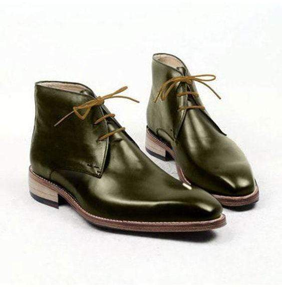 Bespoke Green Leather Chukka Lace Up Boots - leathersguru