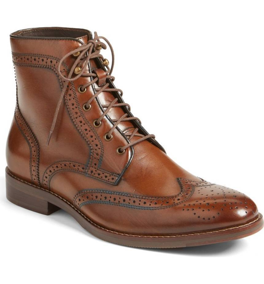 Handmade Tan Leather Wing Tip Lace Up Boots - leathersguru